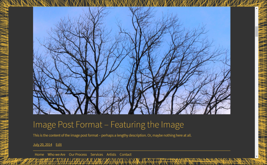 Black and yellow color scheme with a post with a featured image.